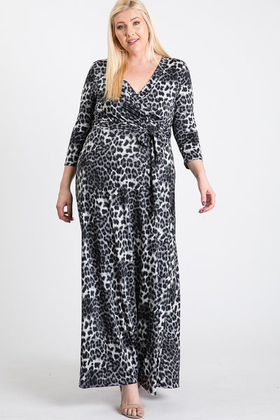 Janette Black Grey Maxi Wrap Dress DJ51504-AMLP-P Spring 2020