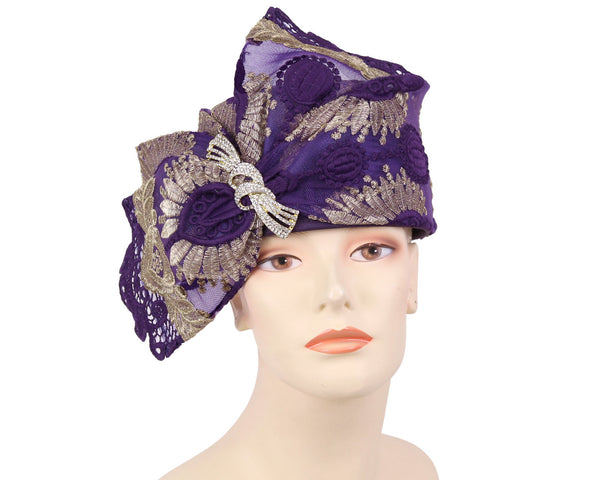 Ms Divine Purple Gold Fashion Hat 7-HL144 Spring 2020