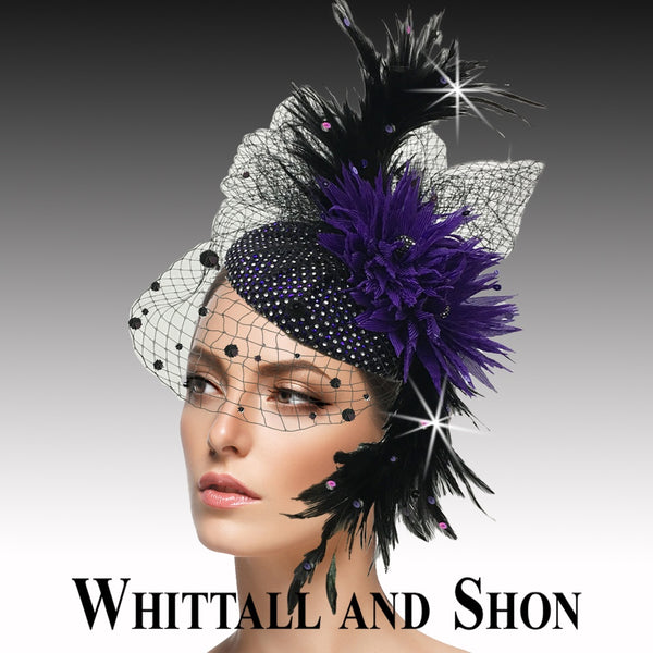 Whittall & Shon Purple Jewel Encrusted Juliet Cap Headband Fascinator Hat FA2502 PISCES Fall 2019