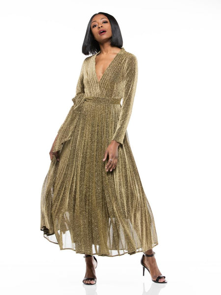 WHY Gold Metallic Fabric Pleated Detailing Long Sleeve Dress D180606 Holiday 2019