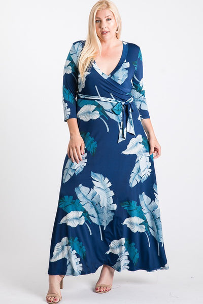 Janette Navy Blue Maxi Wrap Dress DJ51504-NOL-P Spring 2020