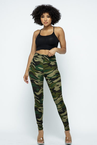 Army Green Camouflage Plus Size One Size High Waist Leggings Fall 2020