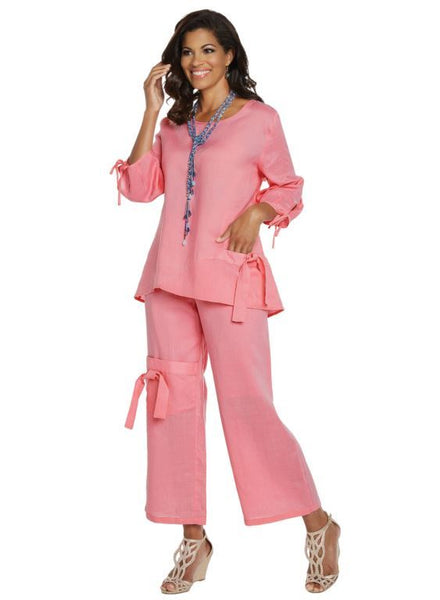 Lisa Rene Pink Linen Tunic & Pant Set 3334 Summer 2019