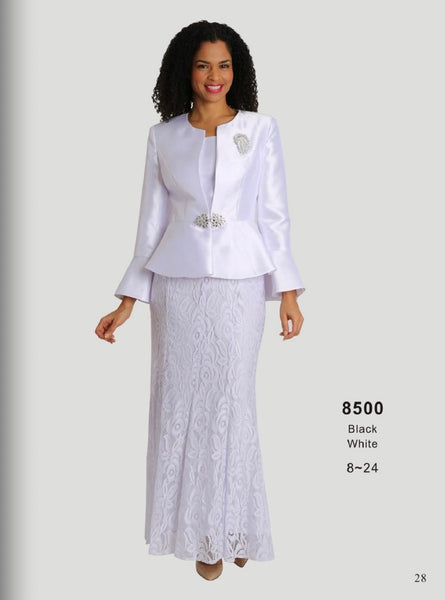Diana White 3pc Skirt Suit 8500 Spring 2021