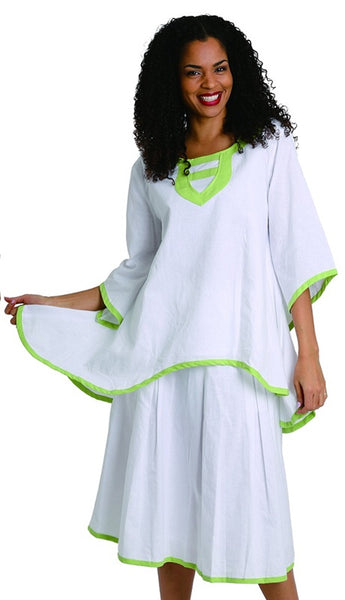 Ella Belle White and Lime Linen Set 8215 Markdown 2019