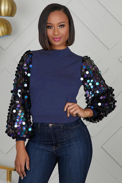 Navy Sequin Top lwz-836t Fall 2020