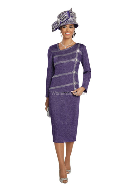 Donna Vinci Violet Knit 2-pc Jacket and Skirt Suit 13260 Fall 2019