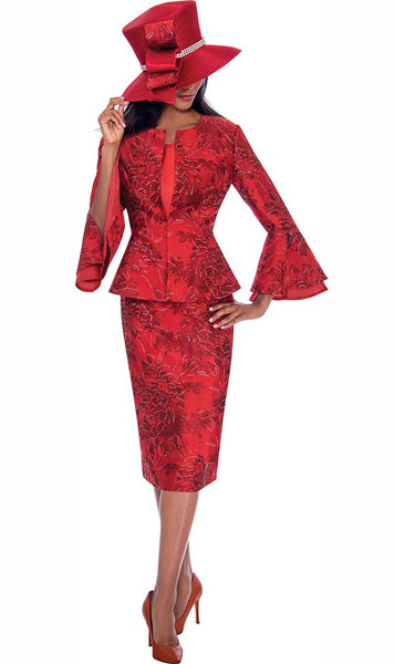 GMI Red Floral Pattern 3pc Suit G7593 Fall 2019