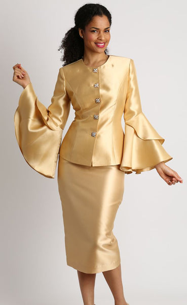 Diana Gold 2pc Suit with Bell Sleeves 8277 Holiday 2019