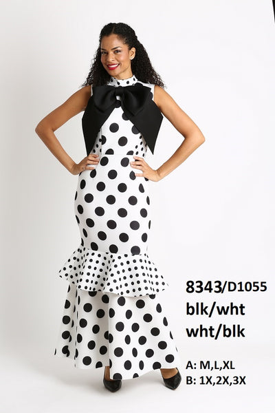 Diana Scuba Black and White Dot Dress 8343 Spring 2020