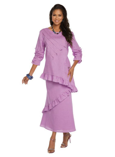 Lisa Rene Lavender Linen Tunic & Skirt Set 3337 Summer 2019