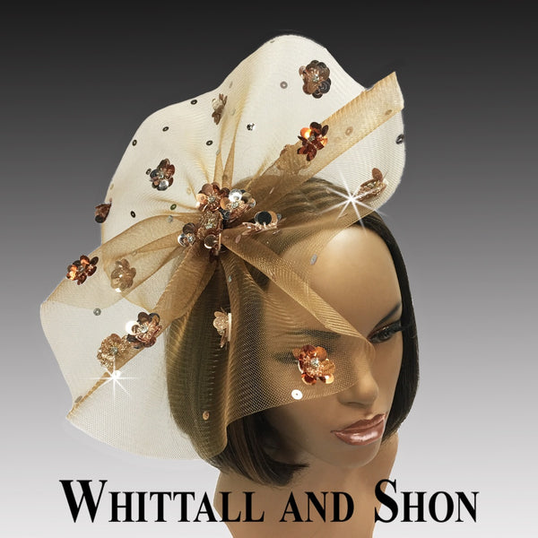 Whittall & Shon Copper Sequin Floral Paillette Fascinator Hat FA2433 ASTER Fall 2019