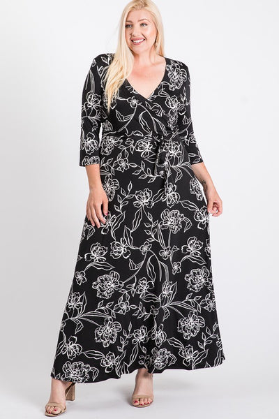 Janette Black White Maxi Wrap Dress DJ51504-FQQ-P Spring 2020