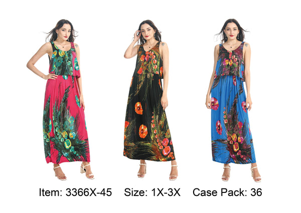 3366X-45 Blue Plus Maxi Dress Spring 2020