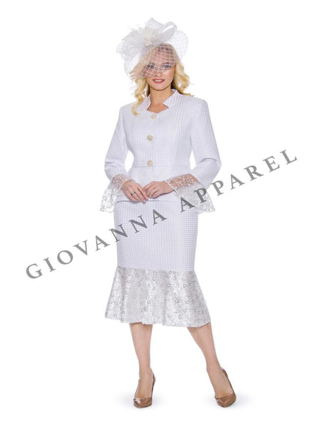 Giovanna 2pc Brocade Skirt Suit with Lace 914 Markdown 2019
