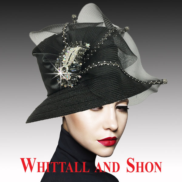 Whittall & Shon Black Classic Mesh Bucket w Jewel Leaves Hat 2533 MURPHY Fall 2019