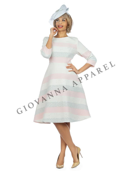 Giovanna Pink Multi Sequined 1pc textured A-Line Dress D1526 Spring 2020 Length 42""