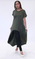 CHH-19064 Olive Green Solid Plus Size One Size Rayon Spandex Knitted Hi-Lo Shirt Dress with Pockets Spring 2020