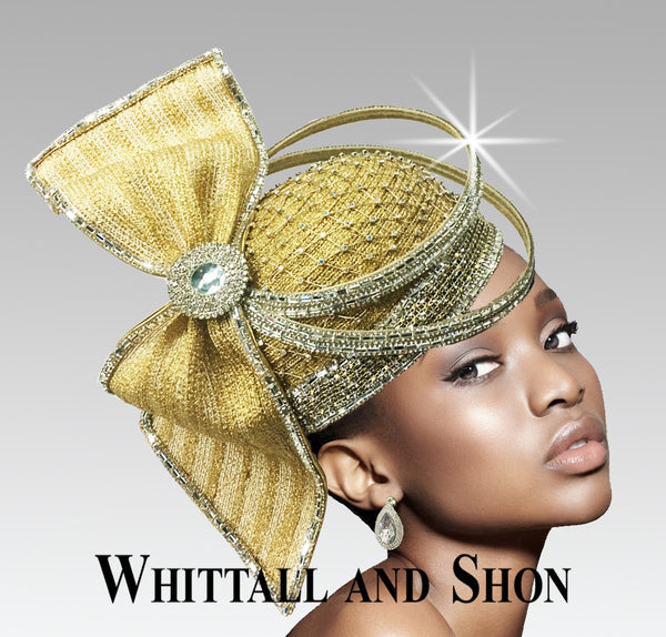 Whittall & Shon Gold Headpiece with Crystal Rings Hat 2635 Orbit Spring 2020