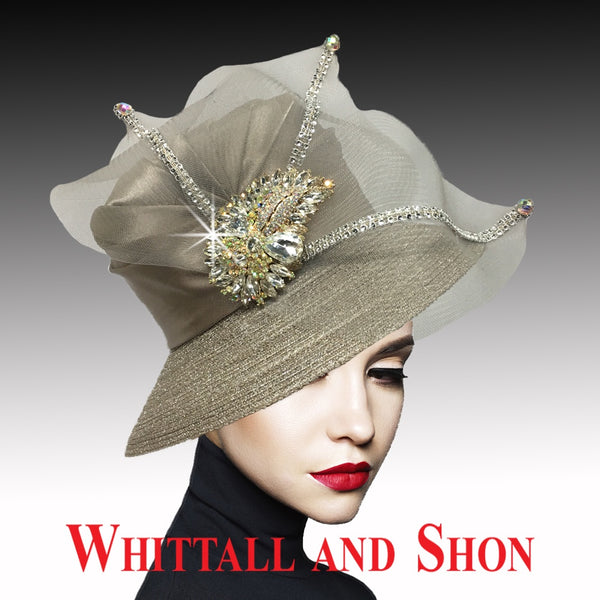 Whittall & Shon Taupe Classic Mesh Bucket w Jewel Leaves Hat 2533 MURPHY Fall 2019