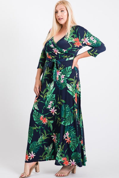 Janette Black/Fuchsia Maxi Wrap Dress DJ51504-BGT-P Spring 2020
