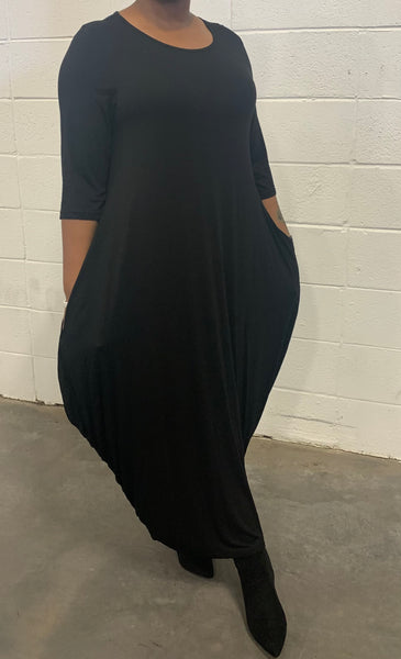 Black Missy Free Size Spandex Knitted Balloon Long Dress with Pockets S004-1 Fall 2020