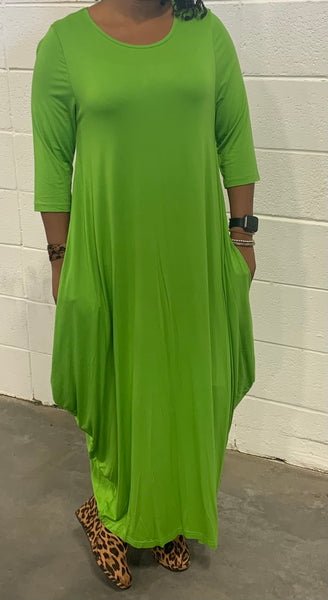 Fresh Green Missy Free Size Spandex Knitted Balloon Long Dress with Pockets S004-1 Fall 2020