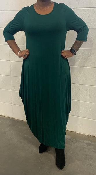 Emerald Missy Free Size Spandex Knitted Balloon Long Dress with Pockets S004-1 Fall 2020