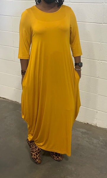 Mustard Missy Free Size Spandex Knitted Balloon Long Dress with Pockets S004-1 Fall 2020