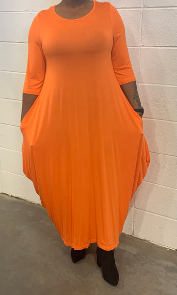 Tangerine Missy Size Spandex Knitted Balloon Long Dress with Pockets S004-1 Fall 2020