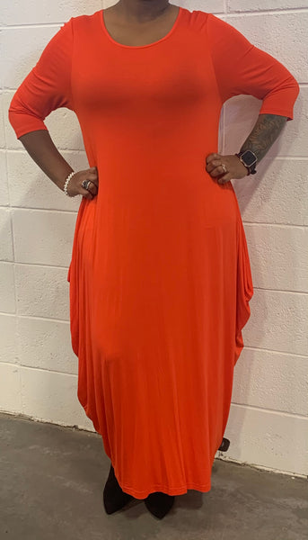 Burnt Orange Missy Free Size Spandex Knitted Balloon Long Dress with Pockets S004-1 Fall 2020