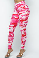 Pink Camouflage Plus Size One Size High Waist Leggings Fall 2020