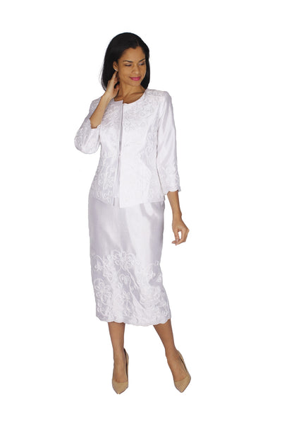 Diana White 3pc Shantung Suit 8525 Markdown 2020