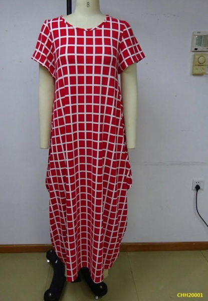 CHH-20001 Red with White Grid Print Plus Size Spandex Knitted Balloon Long Dress with Pockets Spring 2020
