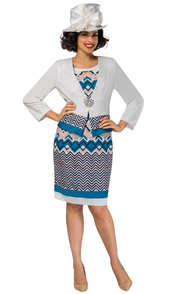 Giovanna 2pc White with Print Jacket Dress G1090 Holiday 2019