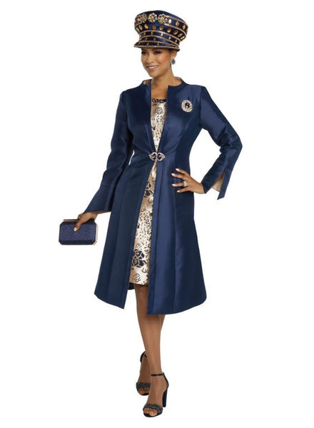 Donna Vinci Navy & Gold 2pc Coat Dress 11799 Holiday 2019