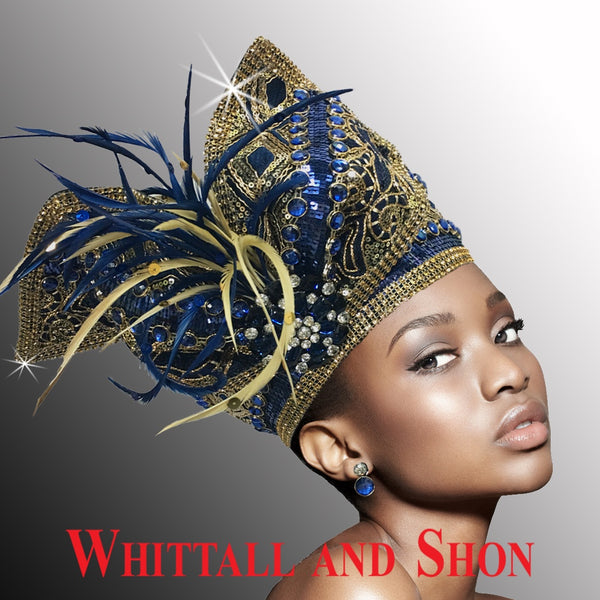 Whittall & Shon Navy Highly Embellished Pillbox Hat with Sculptured Bow 2514-TAPESTRY Fall 2019
