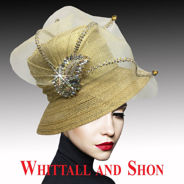 Whittall & Shon Gold Classic Mesh Bucket w Jewel Leaves Hat 2533 MURPHY Fall 2019
