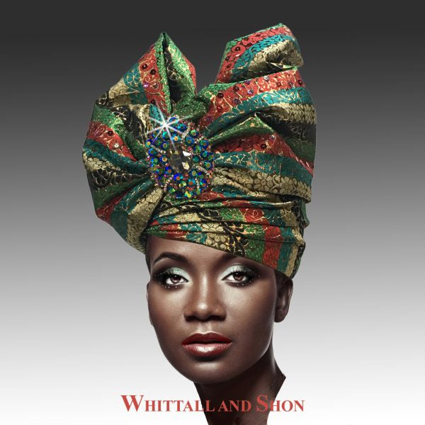 Whittall & Shon Multi Stripe Exotic Draped Turban with Jewel Brooch Hat 2518 ABABA Fall 2019