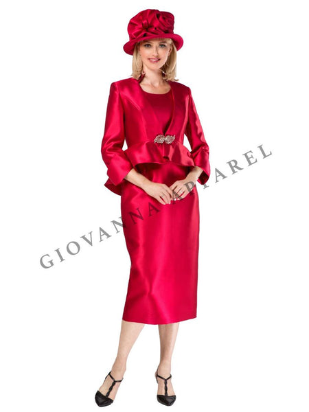 Giovanna Cranberry 3pc Silky Twill Suit G1085 Markdown 2019