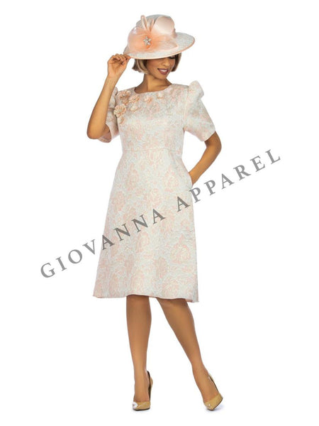 Giovanna Pink 1pc Metallic Brocade Short Sleeve Dress with Petals D1524 Dress Spring 2020