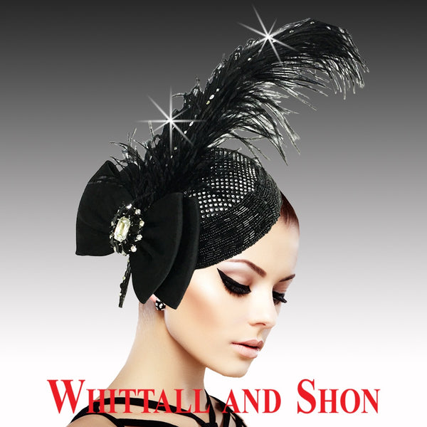 Whittall & Shon Black Regal Ostrich Plume Headband Fascinator Hat FA2507 VIRGIL Fall 2019