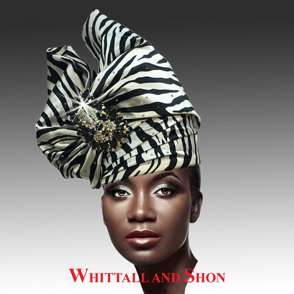 Whittall & Shon Zebra Exotic Draped Turban with Jewel Brooch Hat 2518 ABABA Fall 2019