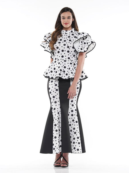 WHY Dot Pattern Scuba Fabric Long Skirt S181612 Holiday 2019