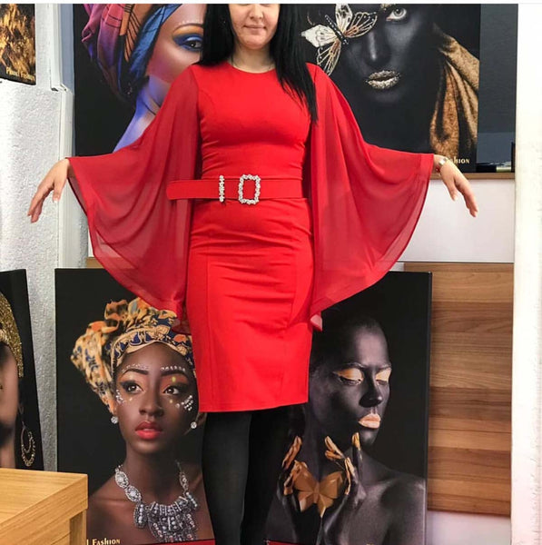 Red Chiffon Dress with Belt RTS1739 Fall 2020