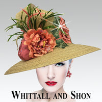 Whittall & Shon Gold Multi Lace Flower Crown Hat 2650 KUMQUAT  Spring 2020