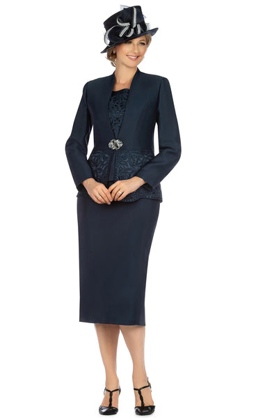 Giovanna Navy 3pc Collarless Cutout & Beading Skirt Suit G1088 Markdown 2020