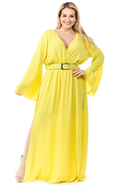 Ricarica Lime Yellow Maxi Belted Dress P1560 Markdown 2019