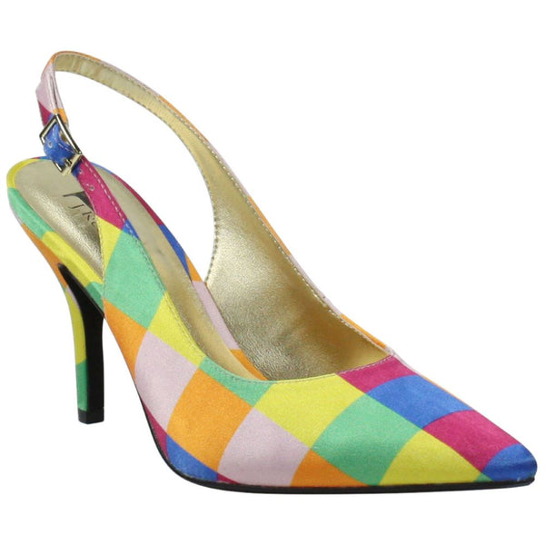 J.Renee' Bright Multi Checkerboard Bechet-JJ Slingback Spring 2020