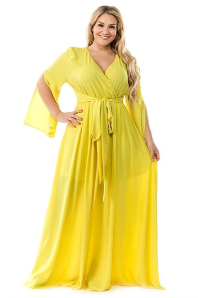 Ricarica Lime Yellow Maxi Wrap Dress P1060SO Summer 2019